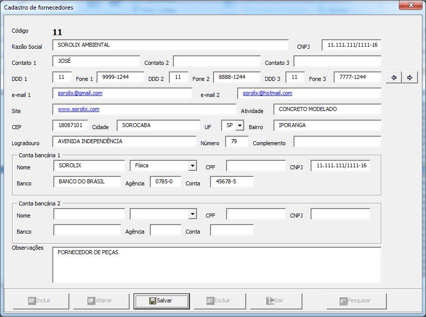 Cadastro de fornecedores Excel planilha 4