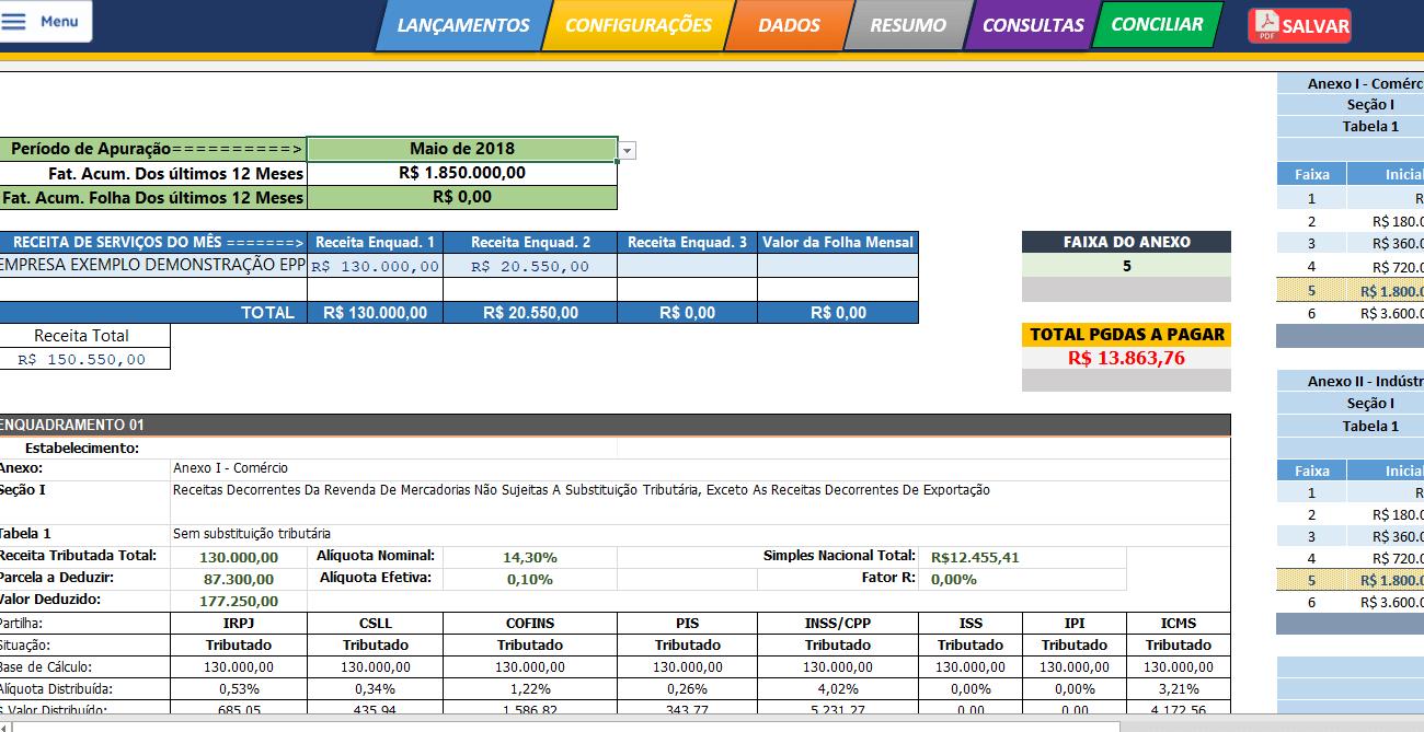 Planilha de cálculo do SIMPLES Nacional