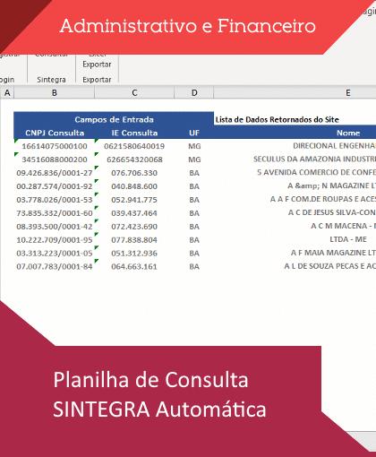 Planilha de consulta SINTEGRA Automática