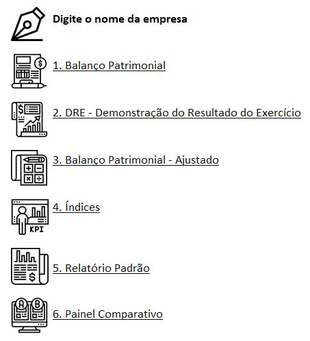 Excel Análise de balanço Planilha 1