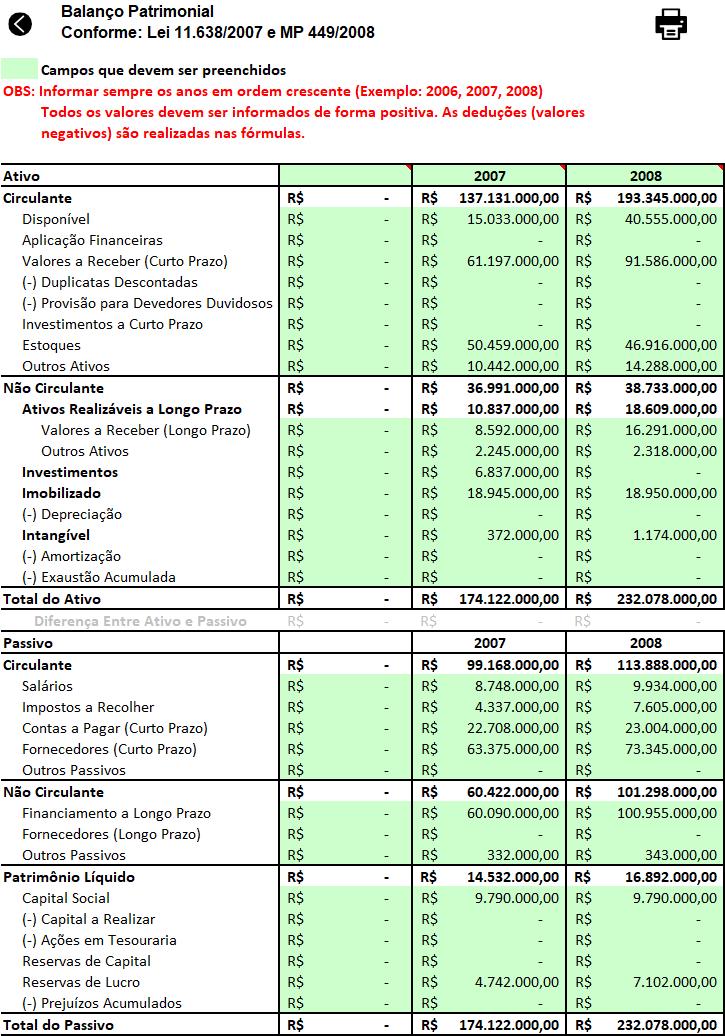 Excel Análise de balanço Planilha 7