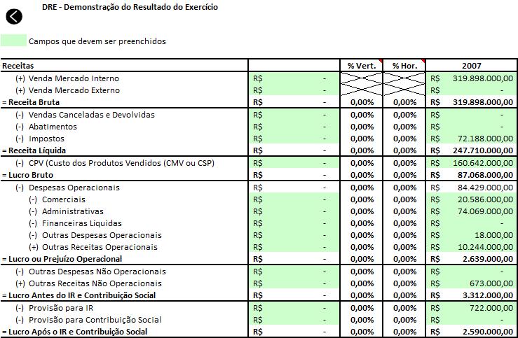 Excel Análise de balanço Planilha 8