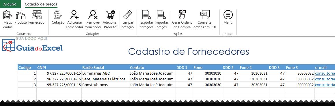 Planilha de cotação de preços Excel Automática 3