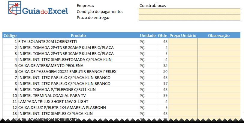 Planilha de cotação de preços Excel Automática 5