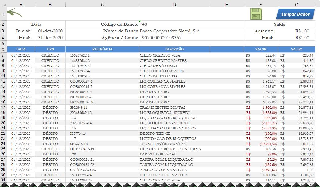 Planilha converter OFX para Excel 2