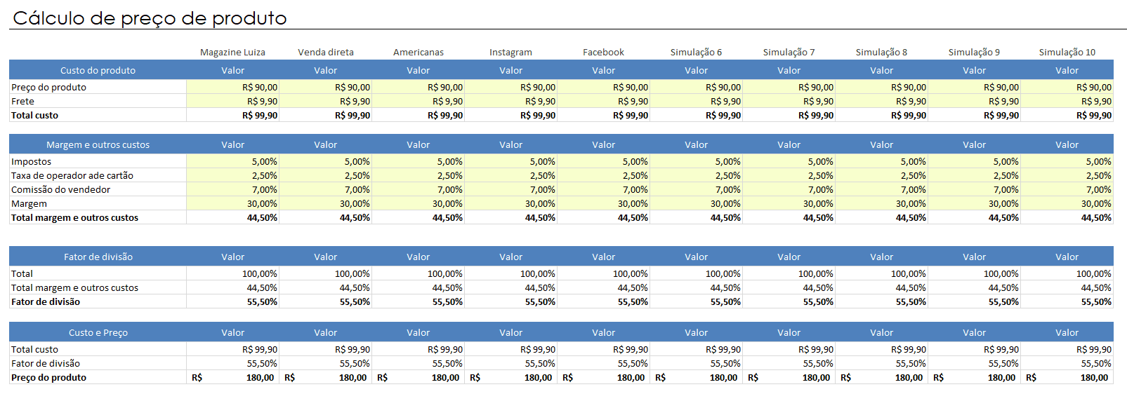 Cálculo de preço excel